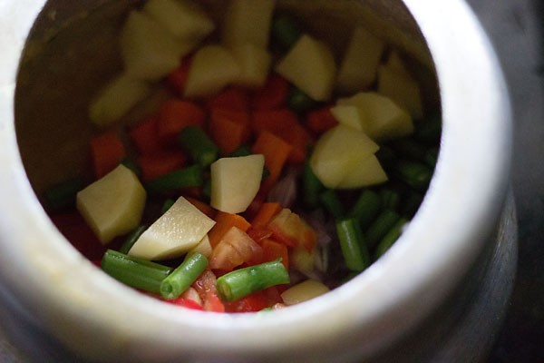 boiled vegetables for making sambar recipe
