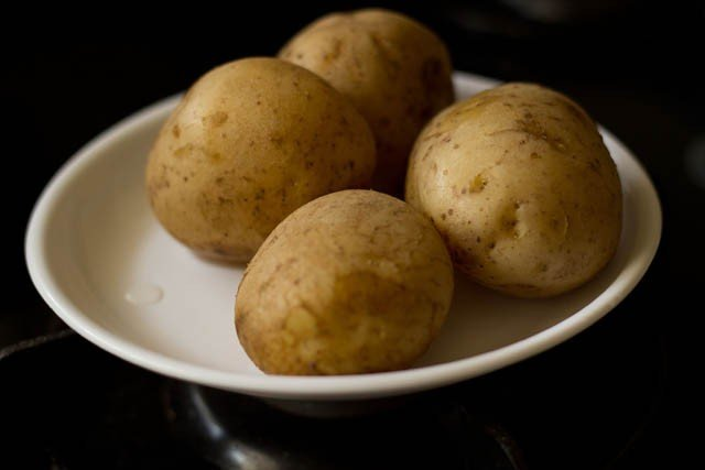 boiled aloo in a plate