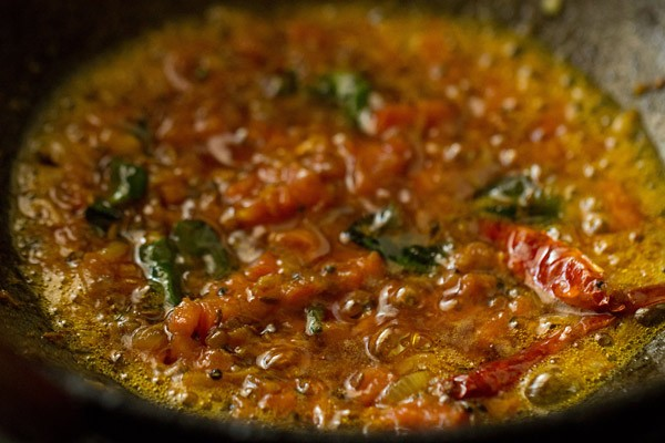 sauteing tomatoes for dal fry recipe