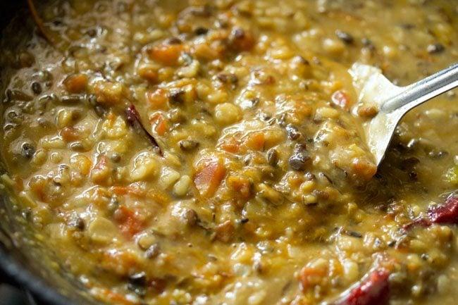 mixing dhaba dal mixture