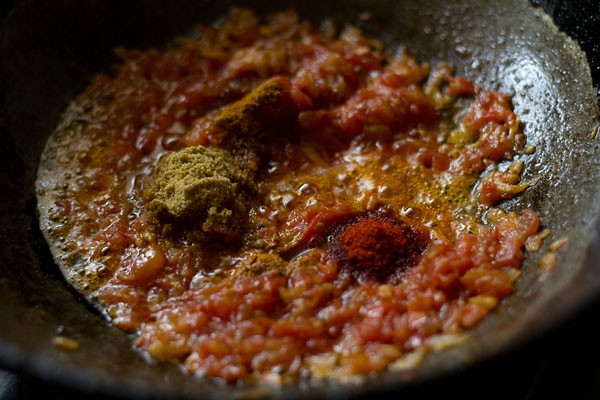 add spices - making fried mix vegetable
