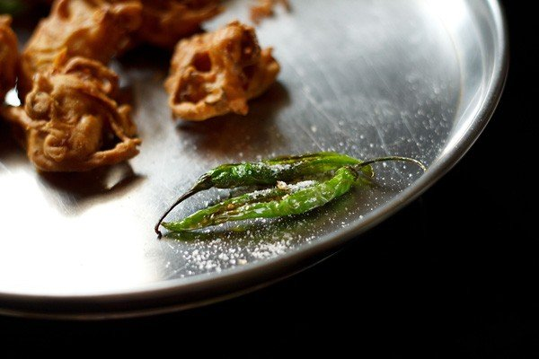 fried chillies for serving with onion pakora