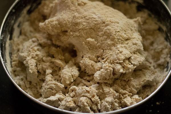 kneading dough for rotis