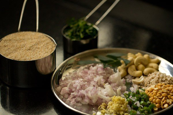 ingredients prepped for upma recipe