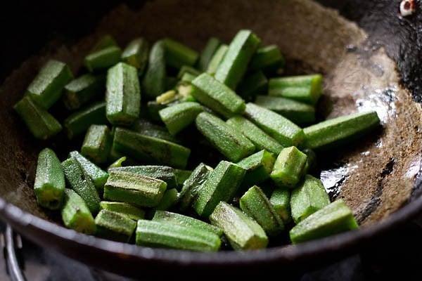 cut bhindi, okra