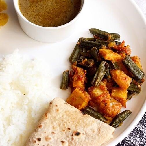 aloo bhindi recipe, punjabi aloo bhindi sabzi recipe