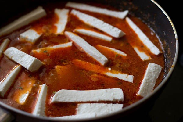 paneer cut in long rectangles are added