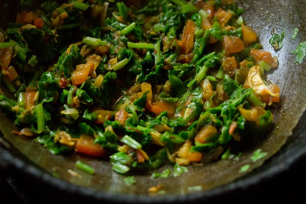 making spinach dal recipe