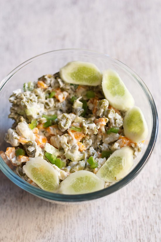 russian salad recipe, how to make veg russian salad   salad recipes