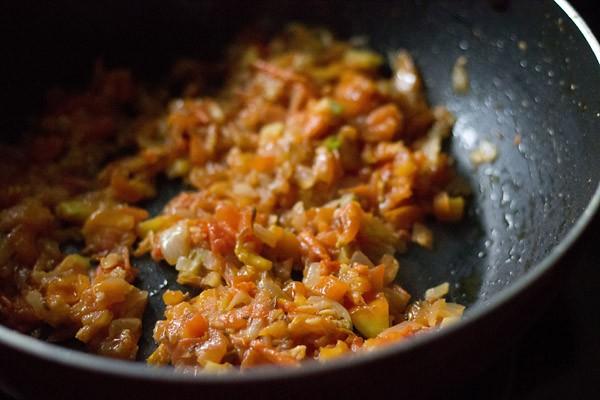 saute tomatoes - making pav bhaji recipe