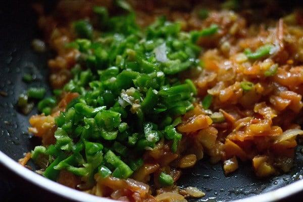 add capsicum - making pav bhaji recipe