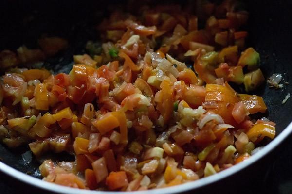 mix tomatoes - making pav bhaji recipe