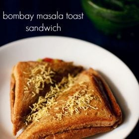 masala sandwich served in a white plate