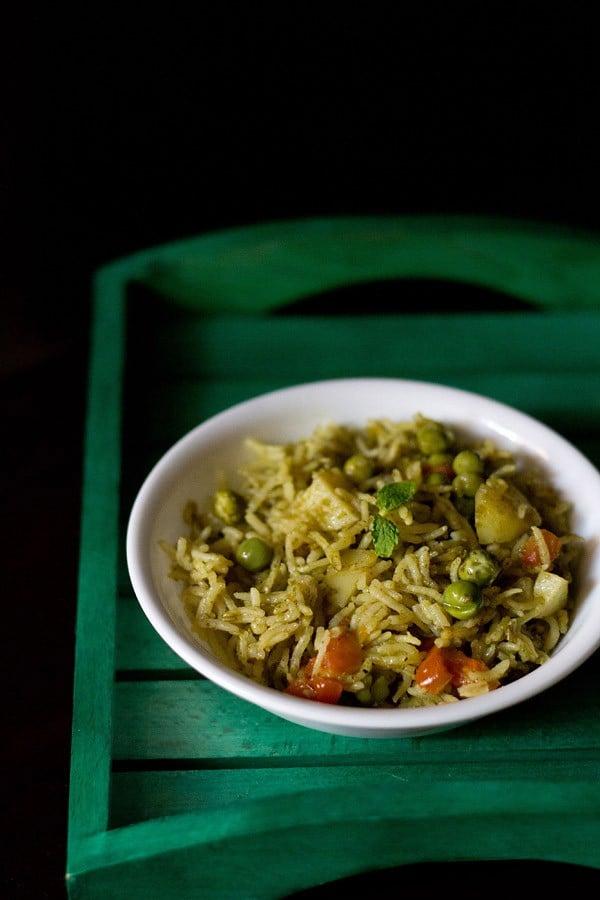 mint pulao recipe, mint rice recipe