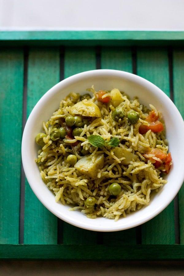 pudina rice recipe, how to make pudina rice | mint rice recipe (pudina pulao)