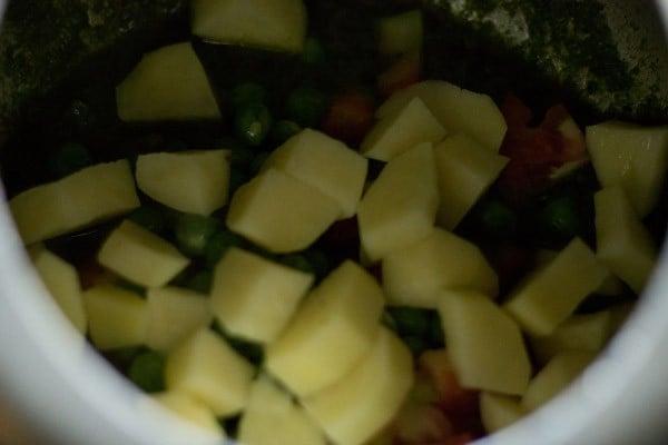 add peas to make mint rice recipe