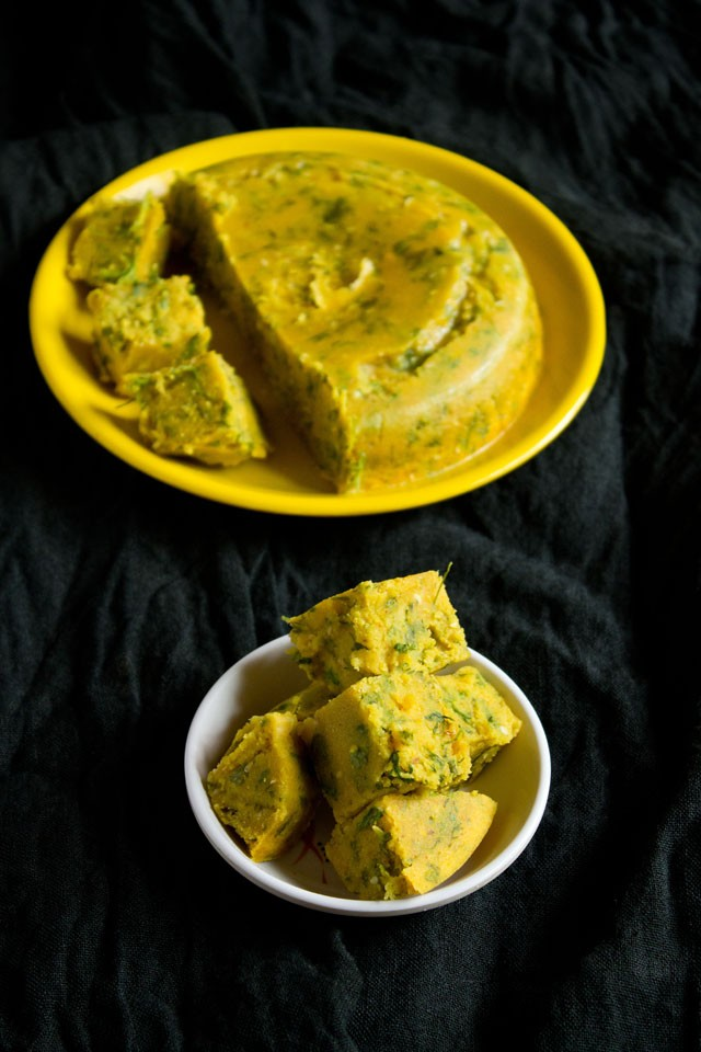 steamed vadis - coriander vadi recipe
