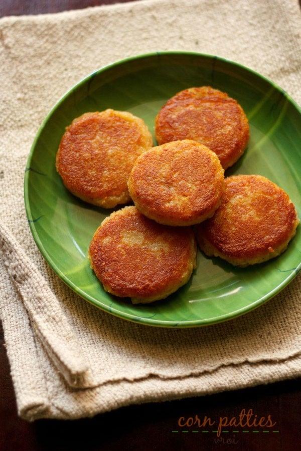 corn patties recipe, corn cutlet recipe | how to make corn patties