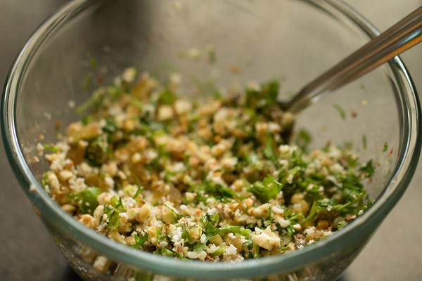 stuffing mixture in a bowl