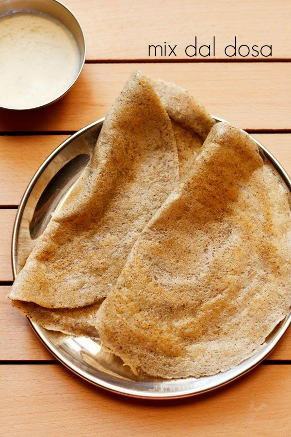 mix dal dosa recipe, how to make easy mixed dal dosa recipe