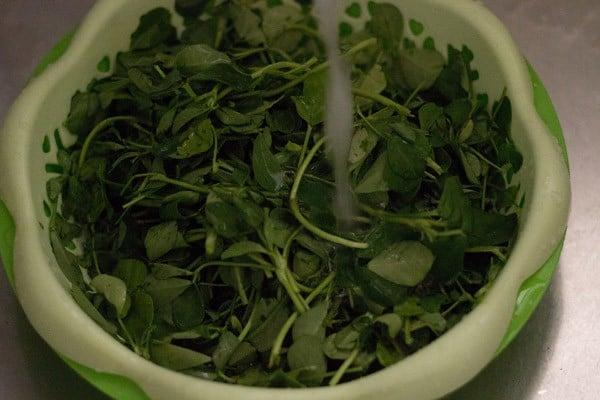 rinse methi or fenugreek leaves very well in running water