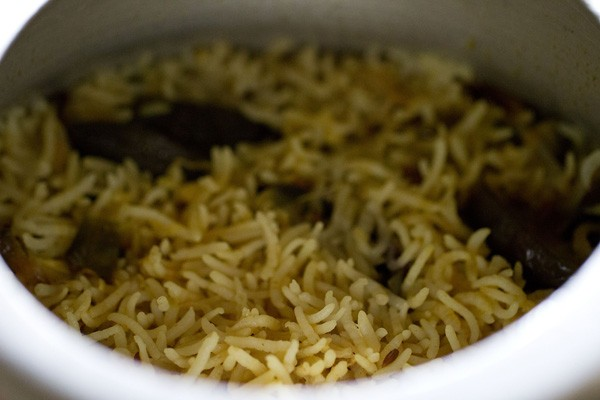 cooking brinjal pulao recipe