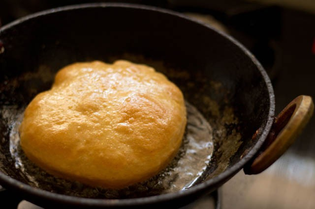 frying bhatura or bhature
