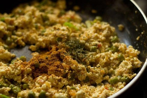 add salt to matar paneer bhurji recipe