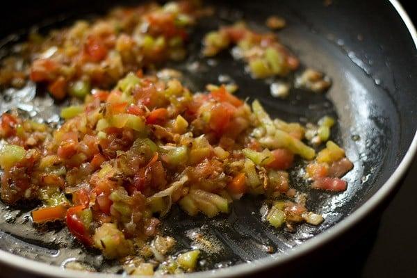fry tomatoes to make mater panee bhurji
