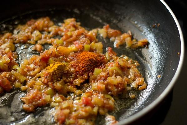 add spices - making matar paneer bhurji recipe