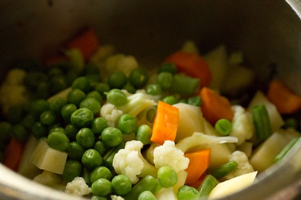 veggies for spicy vegetable pulao recipe