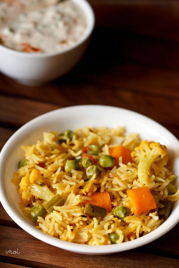 spicy veg pulao recipe, spicy vegetable pulao recipe