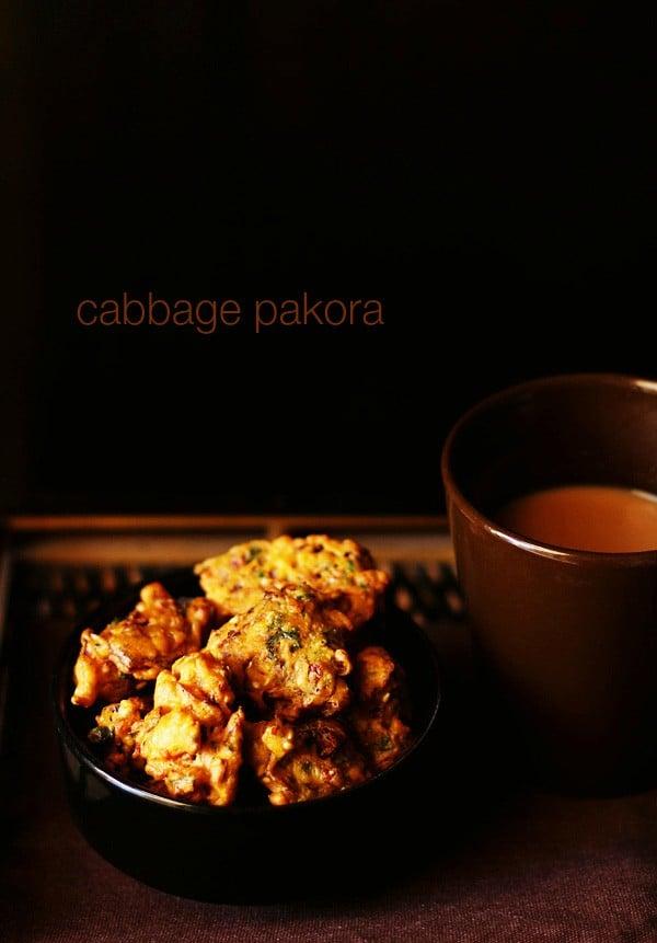 cabbage pakora recipe, how to make cabbage pakora | cabbage fritters