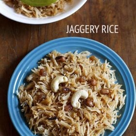 jaggery rice served in a plate