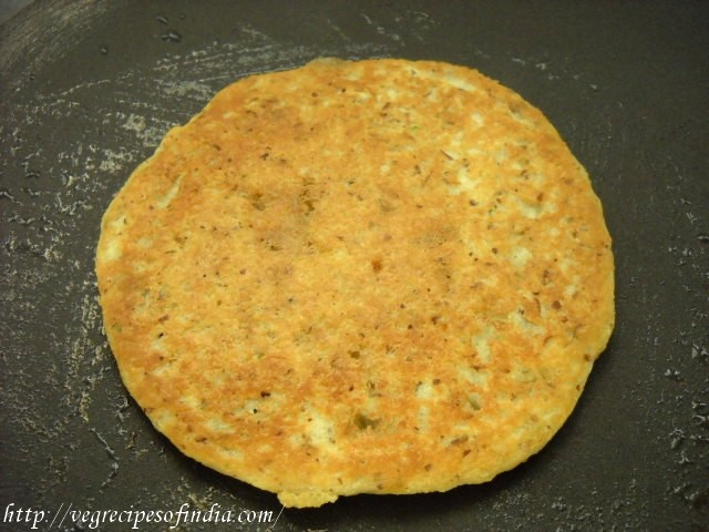flipping first side of soybean dosa