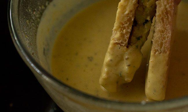 frying pakora - bread pakora recipe