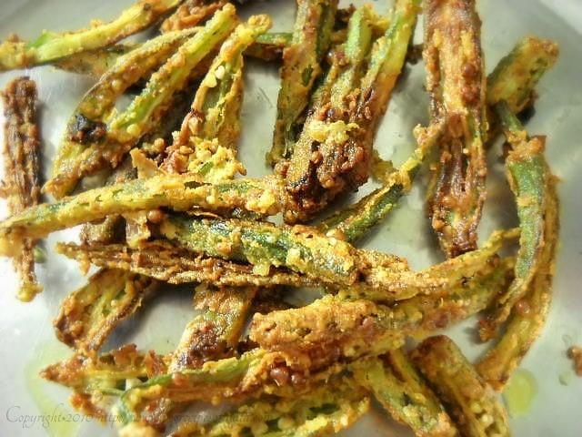 crispy fried bhindi straight from kadai