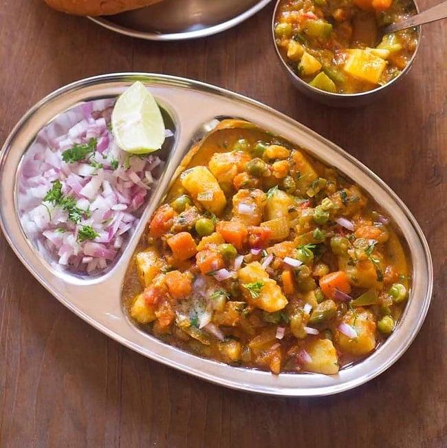 khada pav bhaji recipe