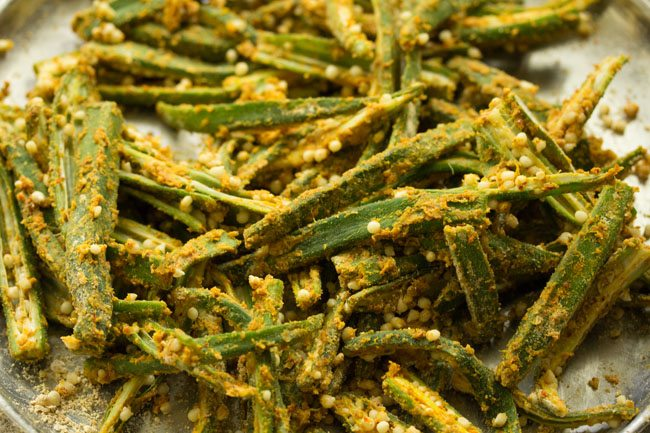 kurkuri bhindi recipe after marination
