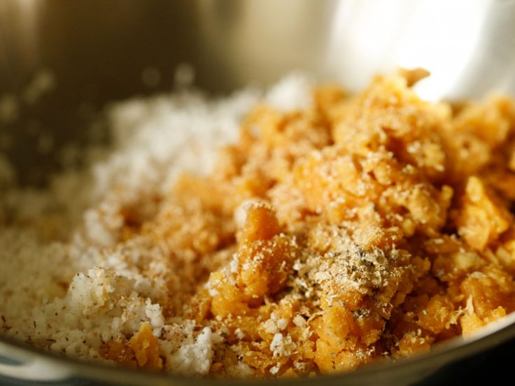 added grated jaggery, coconut, ground nutmeg and cardamom powder