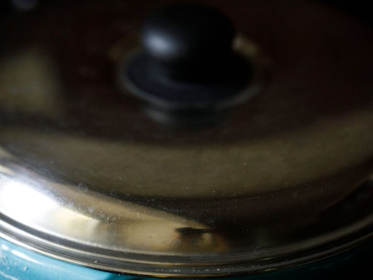 heat switched off and pan covered with lid