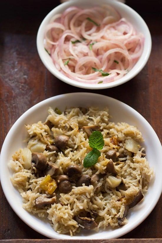 mushroom pulao recipe, goan style mushroom pulao | mushroom recipes