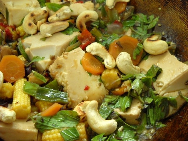 ready thai fry tofu veg with thai basil leaves