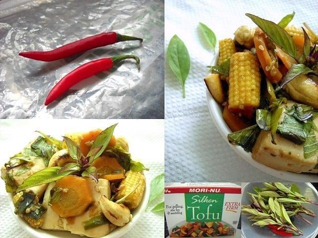 Thai veg stir fry with basil leaves and tofu