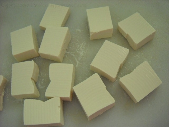 tofu cut in blocks