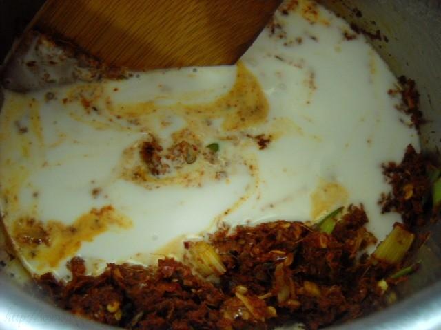adding coconut milk for thai red curry paste