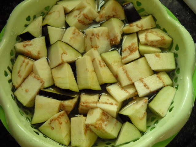 chopped baingan for kalimirch baingan recipe