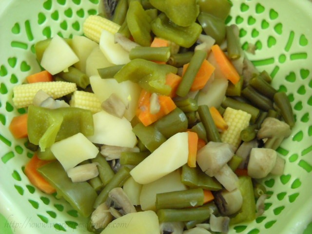 chopped boiled vegetables for thai red curry