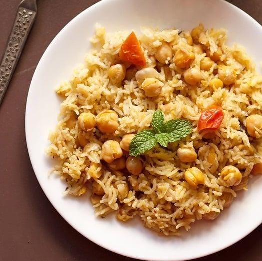 chana pulao recipe, chole pulao recipe, chickpea rice recipe