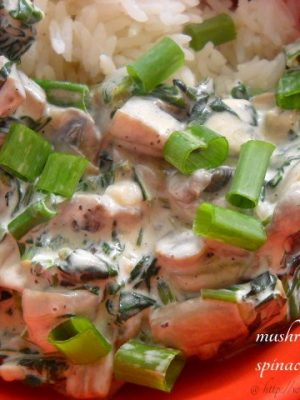 mushroom spinach creamy sauce: mushroom spinach creamy sauce recipe